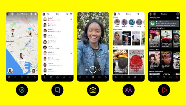 """Snapchat's new """"action bar."""""""
