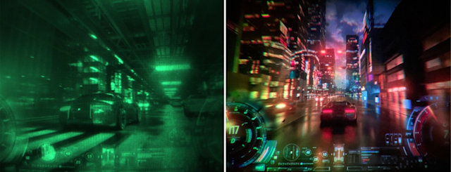 Shown on the left, a photograph captured with the proof-of-concept research device shown. On the right, a photograph taken through a larger full-color benchtop prototype.