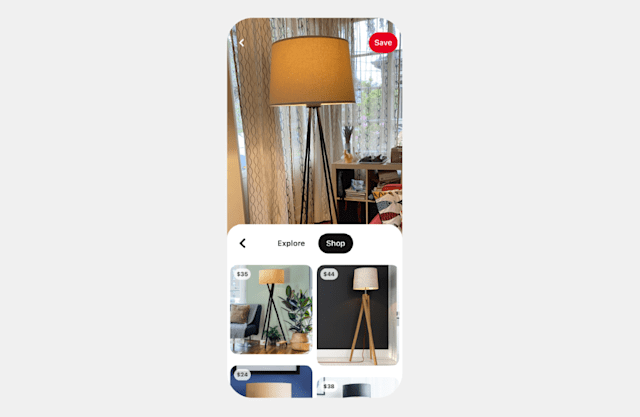 Pinterest Shop Tab Lens