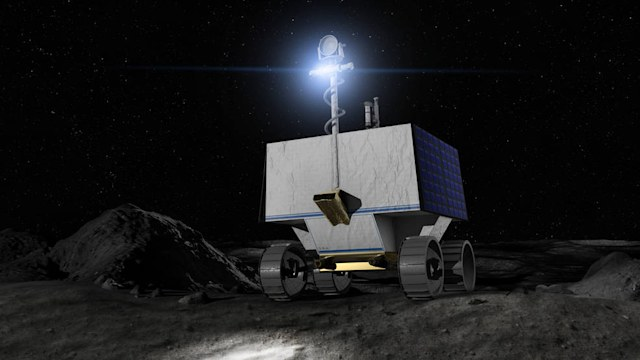 Illustration of NASA's Volatiles Investigating Polar Exploration Rover (VIPER) on the surface of the Moon.