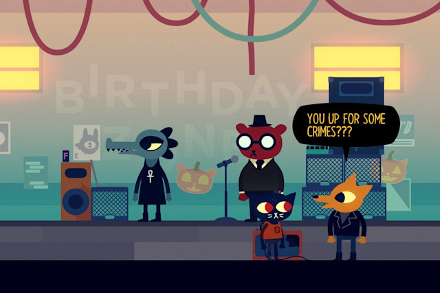 Mae and the band in 'Night in the Woods'