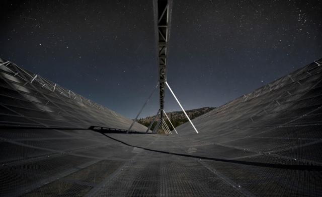 CHIME radio telescope at night