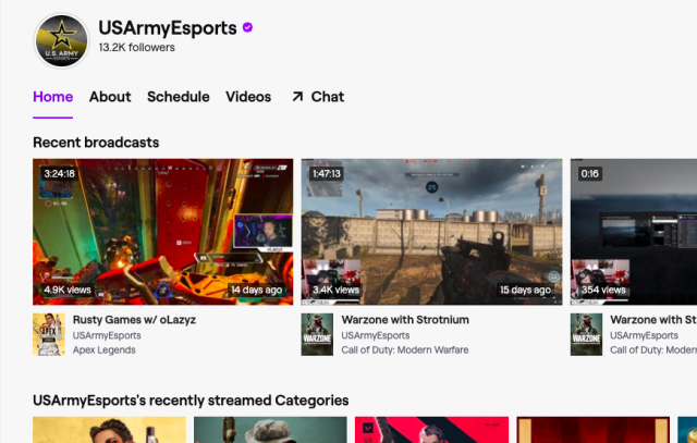 A screenshot of the US Army's Twitch page.