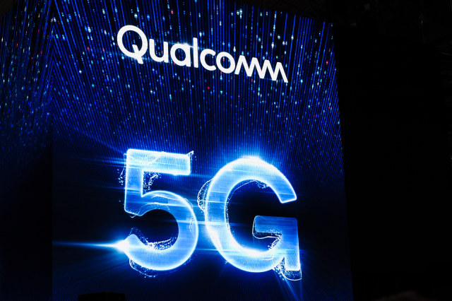 Qualcomm 5G, logo exhibited during the Mobile World Congress, on February 26, 2019 in Barcelona, Spain.   (Photo by Joan Cros/NurPhoto via Getty Images)