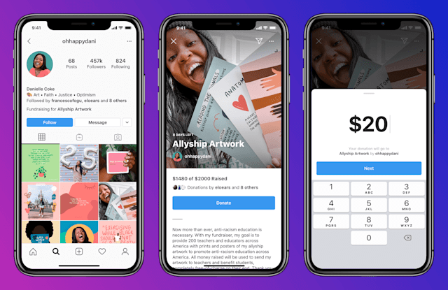 Instagram Personal Fundraisers