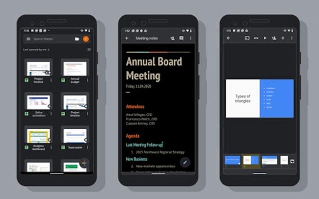 Google Docs, Slides, Sheets dark mode