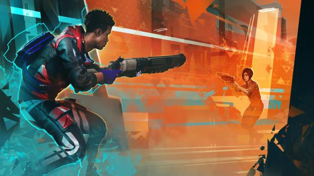 A gun duel in 'Hyper Scape'