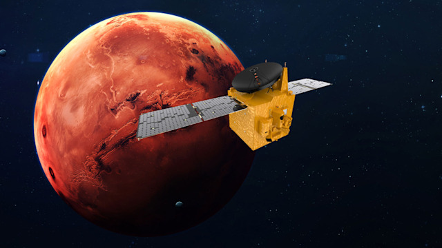 UAE's Hope Mars probe in an artist's rendering