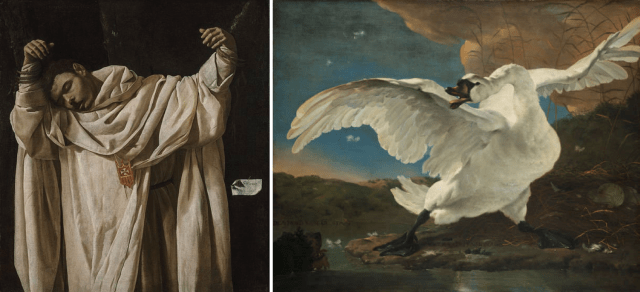 The researchers were inspired by an unlikely, yet similar pairing: Francisco de Zurbarán's, The Martyrdom of Saint Serapion (left) and Jan Asselijn's The Threatened Swan (right).