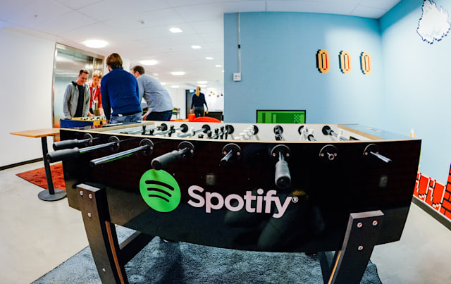 The Spotify logo is pictured on a football table placed in a playroom at the company headquarters in Stockholm on February 16, 2015. AFP PHOTO/JONATHAN NACKSTRAND (Photo credit should read JONATHAN NACKSTRAND/AFP via Getty Images)