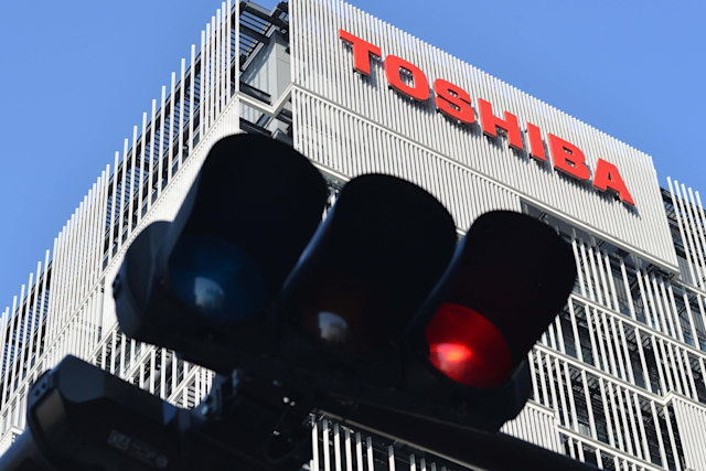 The logo of Toshiba Corp. is seen at the company's facility in Kawasaki, south of Tokyo, Japan February 28, 2017. Toshiba Corp. faces longer screening over fate of securities alert. (Photo by Hitoshi Yamada/NurPhoto via Getty Images)
