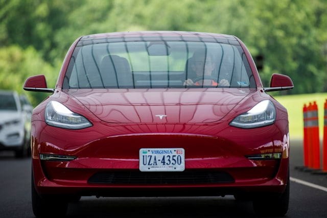 Joe Young, media relations associate for the Insurance Institute for Highway Safety (IIHS) drives a 2018 Tesla Model 3 at the IIHS-HLDI Vehicle Research Center in Ruckersville, Virginia, U.S., July 22, 2019.  Picture taken July 22, 2019. REUTERS/Amanda Voisard