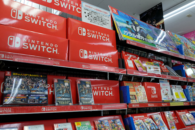 Nintendo Switch video games are displayed at a shop in Tokyo on August 6, 2020. - Nintendo said on August 6, 2020 that its quarterly net profit leapt to 1 billion USD, as the gaming industry enjoys extraordinary demand from players stuck at home because of the coronavirus pandemic. (Photo by Kazuhiro NOGI / AFP) (Photo by KAZUHIRO NOGI/AFP via Getty Images)
