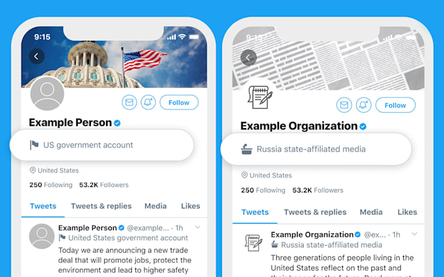 Twitter will now label official government accounts.
