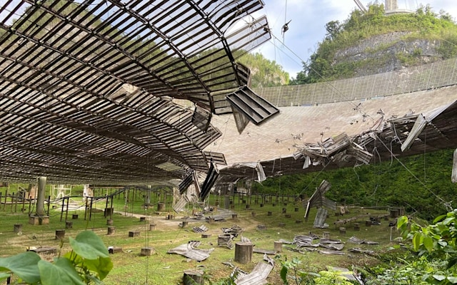 The damaged Arecibo Observatory