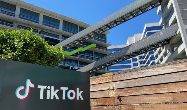 The logo of Chinese video app TikTok is seen on the side of the company's new office space at the C3 campus on August 11, 2020 in Culver City, in the westside of Los Angeles. (Photo by Chris DELMAS / AFP) (Photo by CHRIS DELMAS/AFP via Getty Images)