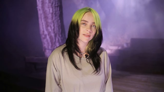 """In this image from video, Billie Eilish speaks before performing """"My Future"""" during the third night of the Democratic National Convention on Wednesday, Aug. 19, 2020. (Democratic National Convention via AP)"""