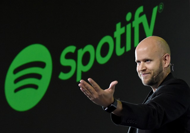 Daniel Ek, CEO of Swedish music streaming service Spotify, gestures as he makes a speech at a press conference in Tokyo on September 29, 2016.  Spotify kicked off its services in Japan on September 29. / AFP / TORU YAMANAKA        (Photo credit should read TORU YAMANAKA/AFP via Getty Images)