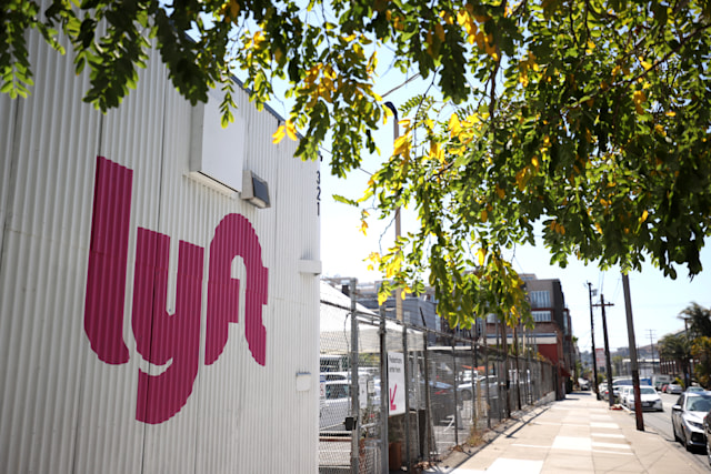SAN FRANCISCO, CALIFORNIA - AUGUST 12: A sign is posted in front of a Lyft driver center on August 12, 2020 in San Francisco, California. Lyft reported a 61 percent drop in second quarter revenues with earnings of $339.3 million compared to $867.3 million one year ago. (Photo by Justin Sullivan/Getty Images)