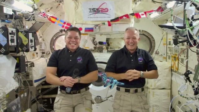 LOS ANGELES - JUNE 25: James chats with SPACEX Astronauts, Bob Behnken and Doug Hurley from his garage on THE LATE LATE SHOW WITH JAMES CORDEN, scheduled to air Thursday June 25, 2020 (12:37-1:37 AM, ET/PT) on the CBS Television Network. Image is a screen grab. (Photo by CBS via Getty Images)