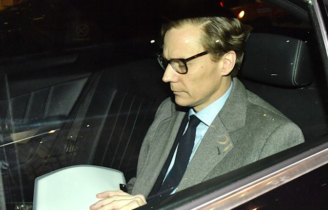 Chief Executive of Cambridge Analytica (CA)Alexander Nix, leaves the offices in central London, as the data watchdog is to apply for a warrant to search computers and servers used by CA amid concerns at Westminster about the firm's activities. (Photo by Dominic Lipinski/PA Images via Getty Images)