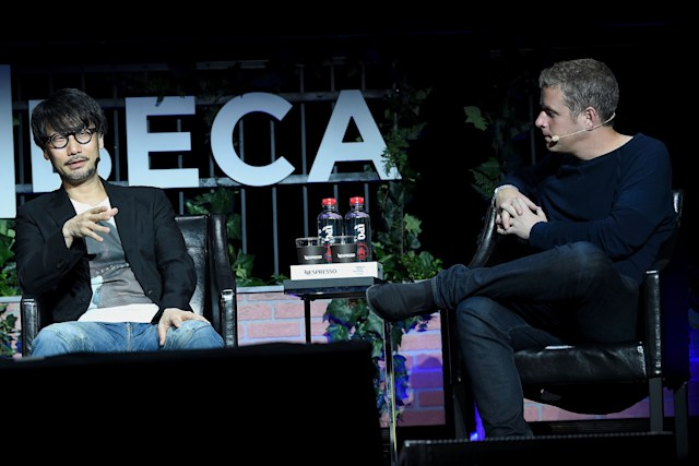 NEW YORK, NY - APRIL 29:  Video game designer Hideo Kojima (L) and journalist Geoff Keighley speak at the Tribeca Games Festival during Tribeca Film Festival at Spring Studios on April 29, 2017 in New York City.  (Photo by Ben Gabbe/Getty Images for Tribeca Film Festival)