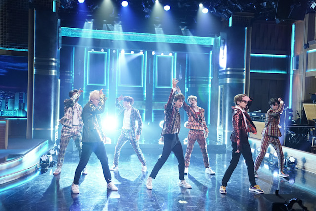 "THE TONIGHT SHOW STARRING JIMMY FALLON -- Episode 0931 -- Pictured: Band BTS performs ""I'm Fine"" on September 25, 2018 -- (Photo by: Andrew Lipovsky/NBCU Photo Bank/NBCUniversal via Getty Images via Getty Images)"