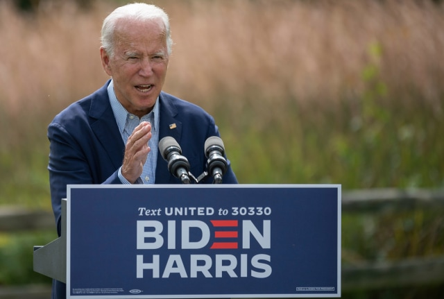 Democratic presidential candidate Joe Biden speaks outside the Delaware Museum of Natural History in Wilmington, Delaware, on September 14, 2020. - Biden remarked on the ongoing wildfires and the urgent need to address the climate crisis. (Photo by JIM WATSON / AFP) (Photo by JIM WATSON/AFP via Getty Images)