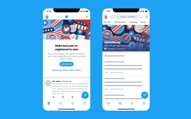 Twitter 2020 voter registration