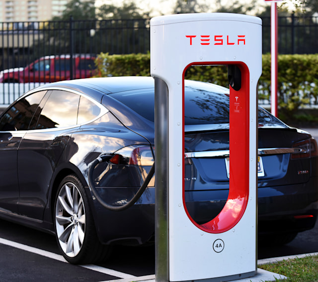 January 20, 2019 - Altamonte Springs, Florida, United States - A Tesla electric car is seen parked at a charging station in Altamonte Springs, Florida on January 20, 2019. Tesla has raised prices at its Supercharger stations, and will now set prices according to local demand and power rates. (Photo by Paul Hennessy/NurPhoto via Getty Images)
