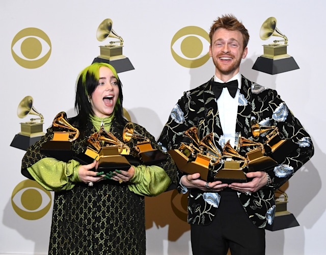 LOS ANGELES, CALIFORNIA - JANUARY 26: Billie Eilish and Finneas O'Connel poses at the 62nd Annual GRAMMY Awards at Staples Center on January 26, 2020 in Los Angeles, California. (Photo by Steve Granitz/WireImage)