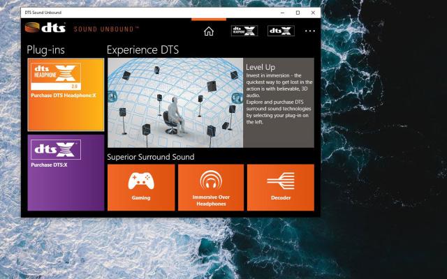 DTS Sound application on computer desktop