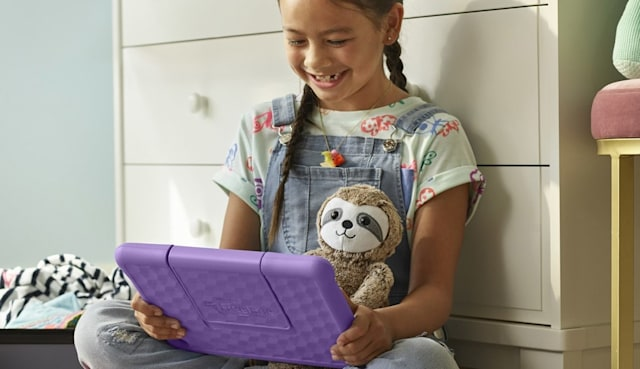 Child using an Amazon Fire tablet
