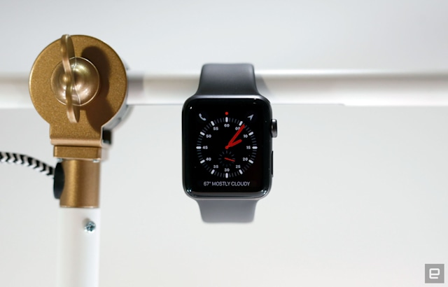 Apple Watch Series 3 hanging off a bar