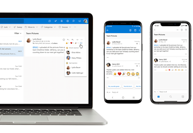 Microsoft Outlook for iOS and Android emoji reactions