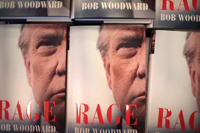 "CHICAGO, ILLINOIS - SEPTEMBER 15: ""Rage"" by Bob Woodward is offered for sale at a Barnes & Noble store on September 15, 2020 in Chicago, Illinois. The book, based on interviews that Woodward had with President Donald Trump, went on sale today. (Photo by Scott Olson/Getty Images)"