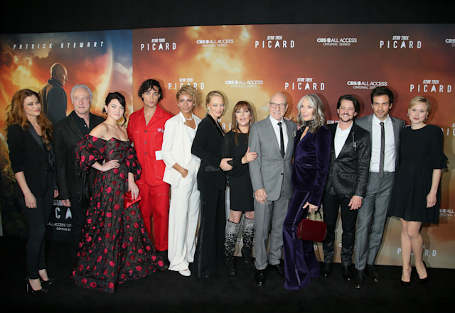 "HOLLYWOOD, CALIFORNIA - JANUARY 13:  The cast of ""Star Trek: Picard"" attend the premiere of ""Star Trek: Picard"" at ArcLight Cinerama Dome on January 13, 2020 in Hollywood, California. (Photo by Jemal Countess/WireImage)"