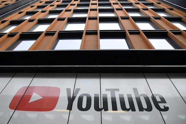 YouTube signage sometimes appears at their offices in King's Cross, London, Britain, September 11, 2020. REUTERS/Toby Melville