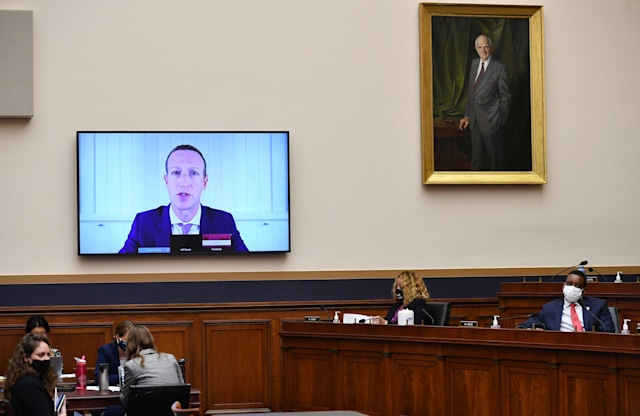 """Facebook CEO Mark Zuckerberg testifies before the House Judiciary Subcommittee on Antitrust, Commercial and Administrative Law on """"Online Platforms and Market Power"""" in the Rayburn House office Building on Capitol Hill in Washington, DC on July 29, 2020. (Photo by MANDEL NGAN / POOL / AFP) (Photo by MANDEL NGAN/POOL/AFP via Getty Images)"""