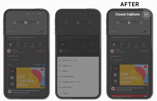 YouTube's closed captions option in its mobile app