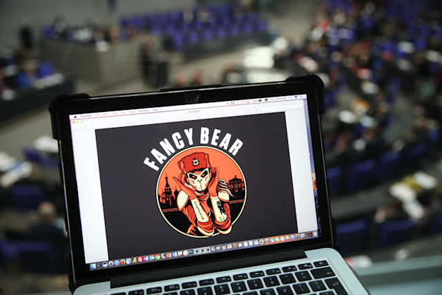 BERLIN, GERMANY - MARCH 01: In this photo illustration artwork found on the Internet showing Fancy Bear is seen on the computer of the photographer during a session in the plenary hall of the Bundestag, the German parliament, on March 1, 2018 in Berlin, Germany. German authorities announced yesterday that administrative computers of the German government, including those of government ministries and parliament, had been infiltrated with malware. Authorities said they suspect the Russian hacker group APT28, also known as Fancy Bear. (Photo by Sean Gallup/Getty Images)