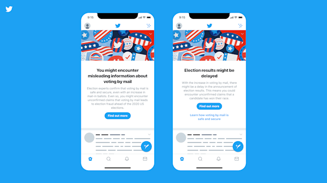 Twitter will run PSAs about the election to reduce the spread of misinformation.