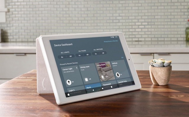 Amazon Fire tablet with Smart Home on Device Dashboard