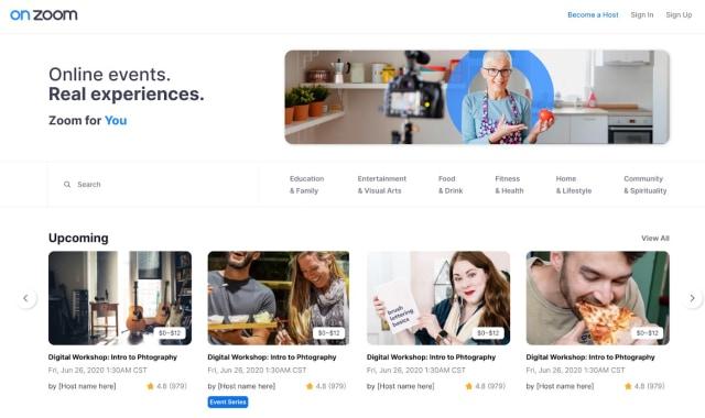 OnZoom homepage