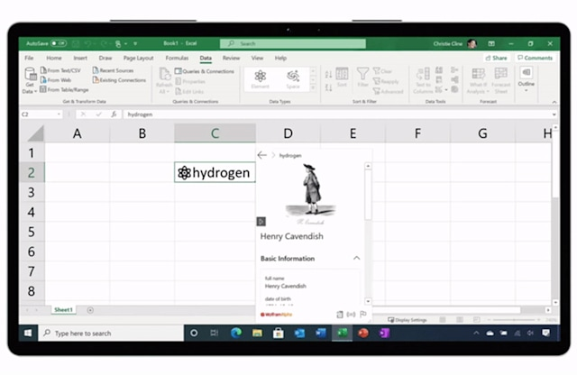 Microsoft Excel custom live data types in a spreadsheet