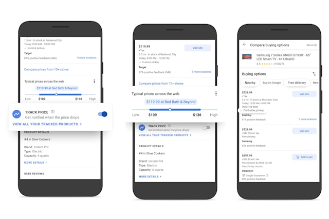 Google Shopping screenshots showing the company's new price-tracking tool.