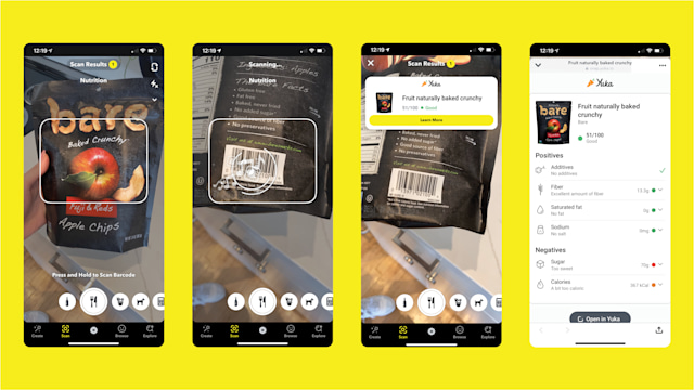 Snapchat can scan packaged food and tell you how healthy it is.