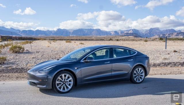 Tesla Model 3 in the desert