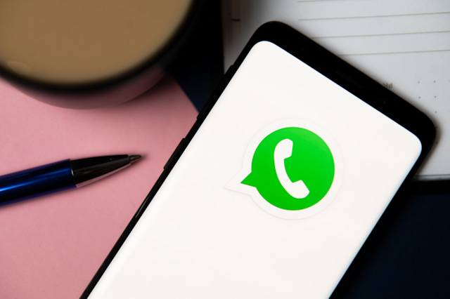 POLAND - 2020/10/06: In this photo illustration a Whatsapp logo displayed on a smartphone. (Photo Illustration by Mateusz Slodkowski/SOPA Images/LightRocket via Getty Images)