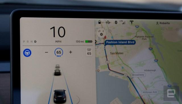 Tesla Model 3 navigation with Autopilot